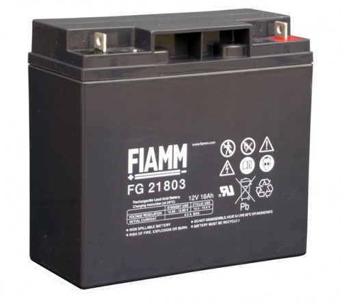 Аккумулятор FIAMM FG 21803 Номинальное напряжение - 12 В, Номинальная ёмкость - 18 Ач, Технология - AGM, Срок службы до 5 лет, Вес - 5,8 кг, Размеры - 181 мм (длина), 76 мм (ширина), 167 мм (высота).