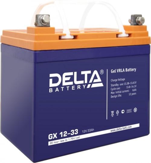 Аккумулятор DELTA GX 12-33 Номинальная ёмкость - 33 Ач, Номинальное напряжение - 12 В, Технология - GEL, Срок службы до 12 лет, Вес - 11 кг, Размеры - 195 мм (длина), 130 мм (ширина), 155 мм (высота).