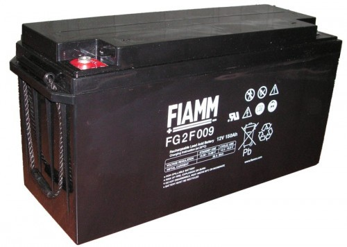 Аккумулятор FIAMM FG 2F009 Номинальная ёмкость -150Ач, Технология - AGM, Вес -46800грамм, Размеры -485мм (длина),170мм (ширина),231мм (высота)