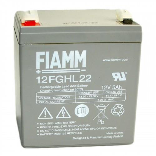 Аккумулятор FIAMM 12 FGHL 22  Аккумуляторы с повышенной энергоотдачей Номинальное напряжение - 12 В, Номинальная ёмкость - 5 Ач, Технология - AGM, Срок службы до 10 лет, Вес - 1,9 кг, Размеры - 90 мм (длина), 70 мм (ширина), 101 мм (высота).