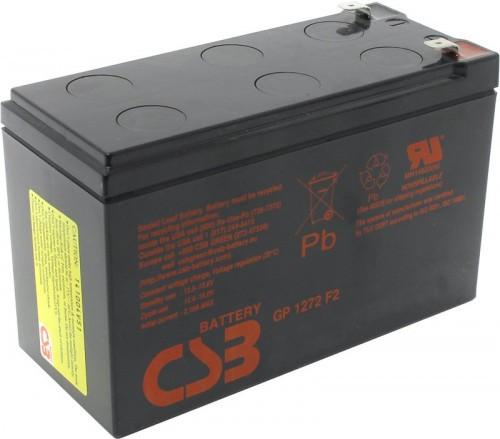 Аккумулятор CSB GP1272 F2 Номинальное напряжение - 12 В,  Номинальная ёмкость - 7.2 Ач, Технология - AGM, Срок службы до 5 лет,  Вес - 2.4 кг, Размеры - 151 мм (длина), 65 мм (ширина), 94,3 мм (высота).