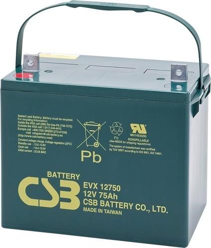 Аккумулятор CSB EVX 12750 Номинальная ёмкость - 75 Ач, Технология - AGM, Вес - 25,6 кг, Размеры - 234 мм (высота), 275 мм (длина), 169 мм (ширина )