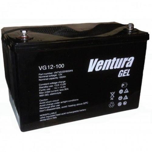 Аккумулятор Ventura VG 12-100 Номинальная ёмкость - 100 Ач, Номинальное напряжение - 12 В,  Технология - GEL, Срок службы до 15 лет,  Вес -30 кг  кг, Размеры -339 мм (длина),173  мм (ширина),214.5 мм (высота).
