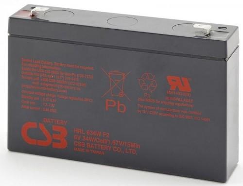 Аккумулятор CSB HRL634W F2 Номинальное напряжение - 6 В,  Номинальная ёмкость - 9 Ач, Технология - AGM, Срок службы до 10 лет,  Вес - 1,32 кг, Размеры - 151 мм (длина), 34 мм (ширина), 94 мм (высота).