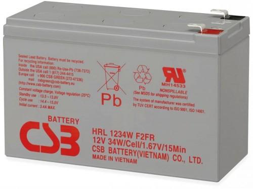 Аккумулятор CSB HRL1234W F2 Номинальное напряжение - 12 В,  Номинальная ёмкость - 9 Ач, Технология - AGM, Срок службы до 10 лет,  Вес - 2,7 кг, Размеры - 151 мм (длина), 65 мм (ширина), 94 мм (высота).