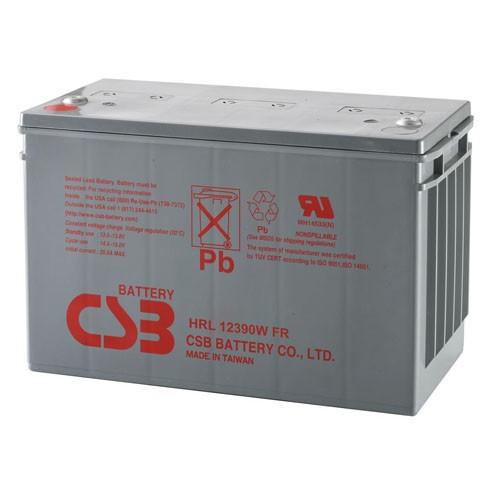 Аккумулятор CSB HRL 12390W Номинальное напряжение - 12 В,  Номинальная ёмкость - 98 Ач, Технология - AGM, Срок службы до 10 лет,  Вес - 33 кг, Размеры - 343 мм (длина), 170 мм (ширина), 214 мм (высота).