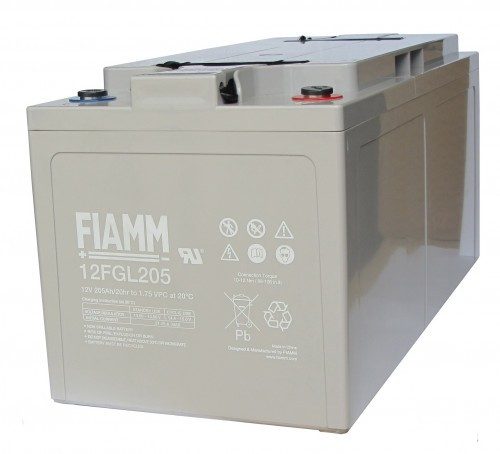 Аккумулятор FIAMM 12 FGL 205 Номинальное напряжение - 12 В, Номинальная ёмкость - 205 Ач, Технология - AGM, Срок службы до 10 лет, Вес - 62,9 кг, Размеры - 500 мм (длина), 226 мм (ширина), 235 мм (высота).