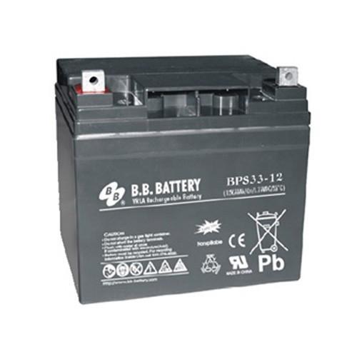 Аккумулятор  BB Battery BPS 33-12H Номинальное напряжение - 12 В,  Номинальная ёмкость - 33 Ач, Технология - AGM, Срок службы до 12 лет, Вес - 11,25 кг, Размеры - 210 мм (длина), 129 мм (ширина), 168  мм (высота).