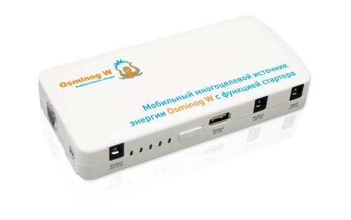 Мобильный многоцелевой источник энергии Osminog W-S (текстильная сумочка) Запуск ДВС (12В) Заряд мобильных устройств (коммуникаторов, мобильных телефонов, планшетов, PSP, аудио/видео проигрывателей, и других гаджетов) Заряд ноутбуков + встроенный фонарь с 3 режимами.
