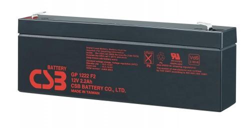 Аккумулятор CSB GP1222 Номинальное напряжение - 12 В,  Номинальная ёмкость - 2,2 Ач, Технология - AGM, Срок службы до 5 лет,  Вес - 0,9 кг, Размеры - 178 мм (длина), 34 мм (ширина), 60 мм (высота).