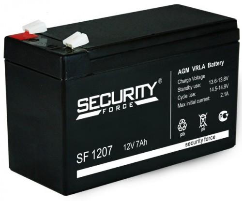Аккумулятор Security Force SF 1207 Номинальная ёмкость - 7 Ач, Номинальное напряжение - 12 В, Технология - AGM, Вес - 1,8 кг, Срок службы до 5 лет, Размеры - 151 мм (длина), 65 мм (ширина), 94 мм (высота).
