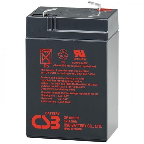 Аккумулятор CSB GP645 Номинальное напряжение - 6 В,  Номинальная ёмкость - 4,5 Ач, Технология - AGM, Срок службы до 5 лет,  Вес - 0,84 кг, Размеры - 70 мм (длина), 48 мм (ширина), 102 мм (высота).