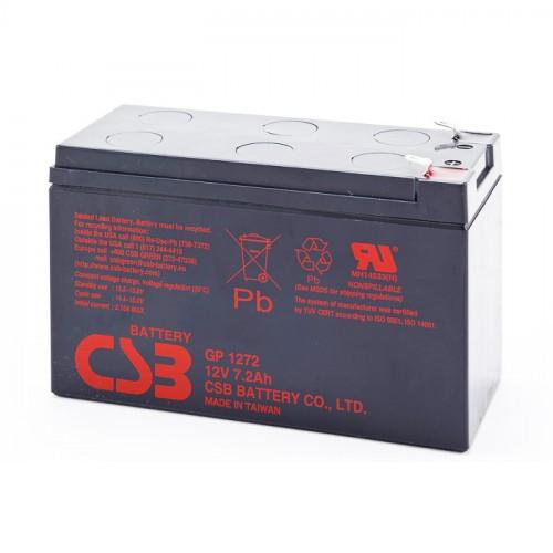 Аккумулятор CSB GP1272 F1 Номинальное напряжение - 12 В,  Номинальная ёмкость - 7.2 Ач, Технология - AGM, Срок службы до 5 лет,  Вес - 2.4 кг, Размеры - 151 мм (длина), 65 мм (ширина), 94,3 мм (высота).