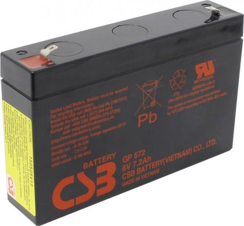 Аккумулятор CSB GP672 Номинальное напряжение - 6 В,  Номинальная ёмкость - 7.2 Ач, Технология - AGM, Срок службы до 5 лет,  Вес - 1.22 кг, Размеры - 151 мм (длина), 34 мм (ширина), 94 мм (высота).