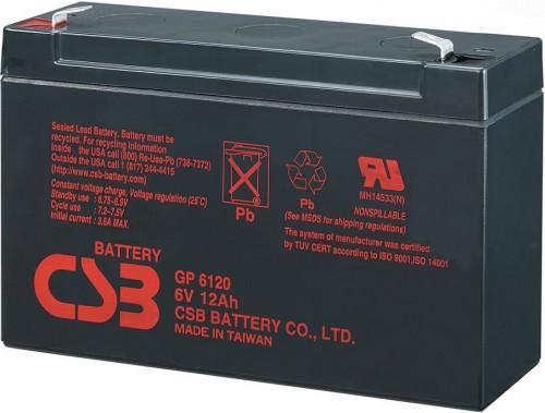 Аккумулятор CSB GP 6120  Номинальное напряжение - 6 В,  Номинальная ёмкость - 12 Ач, Технология - AGM, Срок службы до 5 лет,  Вес - 1,85 кг, Размеры - 151 мм (длина), 50 мм (ширина), 94 (высота), 101 мм (с клеммами).