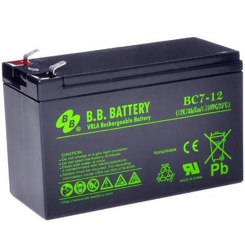 Аккумулятор BB Battery BC7-12 Номинальное напряжение - 12 В,  Номинальная ёмкость - 7 Ач, Технология - AGM, Срок службы до 5 лет,  Вес - 2,2 кг, Размеры - 151 мм (длина), 65 мм (ширина), 94 мм (высота).