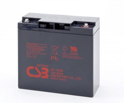 Аккумулятор CSB GP12200 Номинальное напряжение - 12 В,  Номинальная ёмкость - 20 Ач, Технология - AGM, Срок службы до 5 лет,  Вес - 6,4 кг, Размеры - 181 мм (длина), 76.2 мм (ширина), 167 мм (высота).