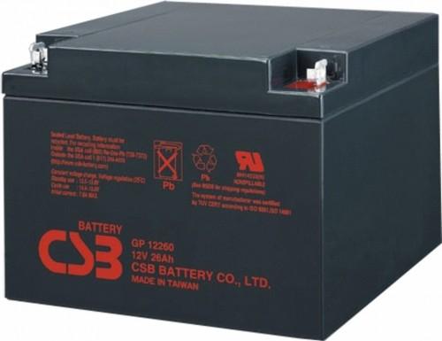 Аккумулятор CSB GP12260 Номинальное напряжение - 12 В,  Номинальная ёмкость - 26 Ач, Технология - AGM, Срок службы до 5 лет,  Вес - 8,45 кг, Размеры - 166 мм (длина), 175 мм (ширина), 125 мм (высота).