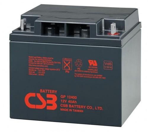 Аккумулятор CSB GP12400 Номинальное напряжение - 12 В,  Номинальная ёмкость - 40 Ач, Технология - AGM, Срок службы до 5 лет,  Вес - 12,63 кг, Размеры - 197 мм (длина), 165 мм (ширина), 170 мм (высота).