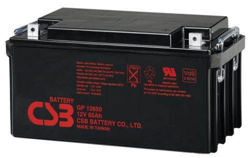 Аккумулятор CSB GP 12650 Номинальное напряжение - 12 В,  Номинальная ёмкость - 65 Ач, Технология - AGM, Срок службы до 5 лет,  Вес - 20 кг, Размеры - 350 мм (длина), 166 мм (ширина), 175  мм (высота), 175 мм (с клеммами).