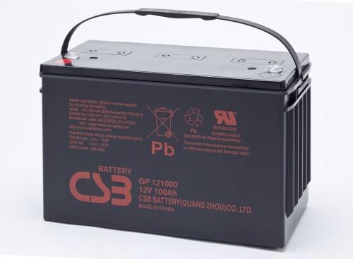 Аккумулятор CSB GP121000 Номинальное напряжение - 12 В,  Номинальная ёмкость - 100 Ач, Технология - AGM, Срок службы до 5 лет,  Вес - 31,2 кг, Размеры - 343 мм (длина), 170 мм (ширина), 214 мм (высота).