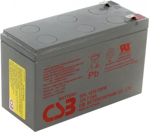 Аккумулятор CSB GPL 1272 Номинальное напряжение: 12В Номинальная ёмкость - 7,2 Ач, Технология - AGM,  Вес - 2.6 кг, Размеры - 151 мм (длина), 65 мм (ширина), 98.6 мм (высота)