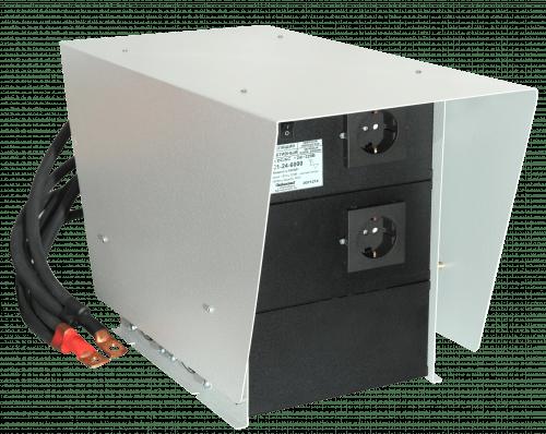 Инвертор ИС1-24-6000Р 6000Вт/24В чистый синус Выходное напряжение 220 В, 50 Гц. Синусоидальное, Входное напряжение 21 - 30 В, Мощность 6000 Вт, максимальная 9000 Вт (в течение 5 сек.), Диапазон рабочих температур -10 +40 °С, КПД 92%, Размеры  233х357х294 мм, Длина проводов 50 см, Вес 14 кг.