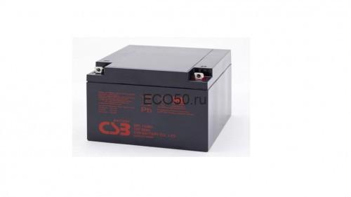 Аккумулятор CSB GPL 12260 Номинальное напряжение - 12 В,  Номинальная ёмкость - 26 Ач, Технология - AGM, Срок службы до 8 лет,  Вес - 8,3 кг, Размеры - 166 мм (длина), 175 мм (ширина), 125 мм (высота).