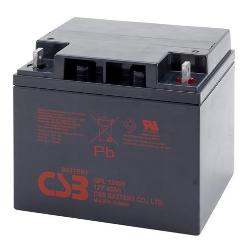 Аккумулятор CSB GPL 12400 Номинальное напряжение - 12 В,  Номинальная ёмкость - 40 Ач, Технология - AGM, Срок службы до 10 лет,  Вес - 14,5 кг, Размеры - 197 мм (длина), 165 мм (ширина), 170 мм (высота).