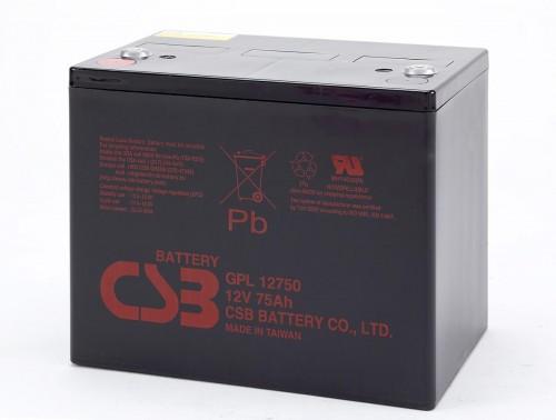 Аккумулятор CSB GPL 12750 Номинальное напряжение - 12 В,  Номинальная ёмкость - 75 Ач, Технология - AGM, Срок службы до 10 лет,  Вес - 25,6 кг, Размеры - 261 мм (длина), 168,5 мм (ширина), 210,5 мм (высота).