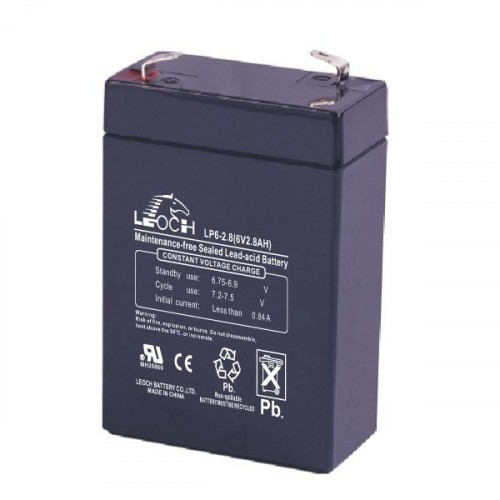 Аккумулятор LEOCH DJW 6-2.8 Номинальное напряжение - 6 В,  Номинальная ёмкость - 2,8 Ач, Технология - AGM, Срок службы до 8 лет,  Вес - 0,57 кг, Размеры - 66 мм (длина), 33 мм (ширина), 97 мм (высота).