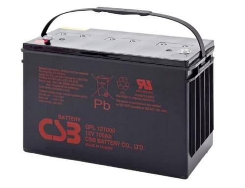 Аккумулятор CSB GPL 121000 Номинальное напряжение - 12 В,  Номинальная ёмкость - 100 Ач, Технология - AGM, Срок службы до 10 лет,  Вес - 33,5 кг, Размеры - 343 мм (длина), 170 мм (ширина), 213,9 мм (высота).