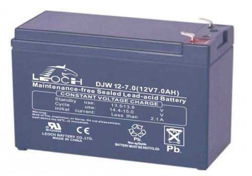 Аккумулятор LEOCH DJW 12-7.0 F2 Номинальное напряжение - 12 В,  Номинальная ёмкость - 7 Ач, Технология - AGM, Срок службы до 8 лет,  Вес - 2.2 кг, Размеры - 151 мм (длина), 65 мм (ширина), 94,5 мм (высота).