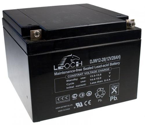 Аккумулятор LEOCH DJW 12-28 Номинальное напряжение - 12 В,  Номинальная ёмкость - 28 Ач, Технология - AGM, Срок службы до 8 лет,  Вес - 8,4 кг, Размеры - 166,5 мм (длина), 175 мм (ширина), 125 мм (высота).