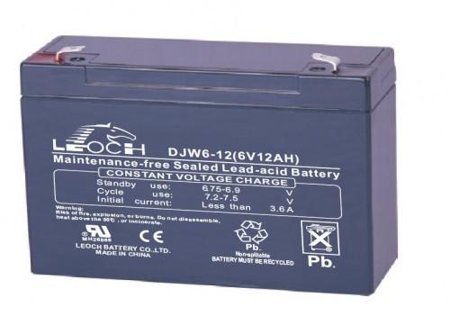 Аккумулятор LEOCH DJW 6-12 Номинальное напряжение - 6 В,  Номинальная ёмкость - 12 Ач, Технология - AGM, Срок службы до 8 лет,  Вес - 1,75 кг, Размеры - 151 мм (длина), 51 мм (ширина), 94 мм (высота).