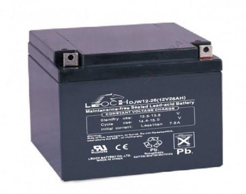 Аккумулятор LEOCH DJW 12-26 Номинальное напряжение - 12 В,  Номинальная ёмкость - 26 Ач, Технология - AGM, Срок службы до 8 лет,  Вес - 8 кг, Размеры - 166,5 мм (длина), 175 мм (ширина), 125 мм (высота).