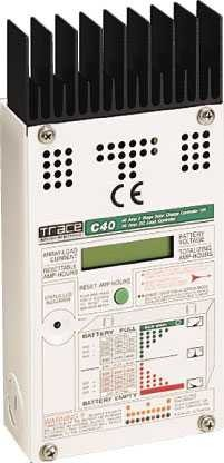 Контроллер заряда С40, 40А 12/24/48 VDC Номинальное напряжение: 12/24/48В, Максимальный ток на входе: 40А, Технология: ШИМ (PWM)