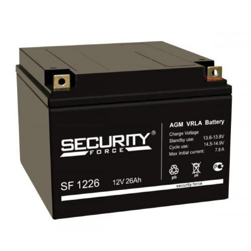 Аккумулятор Security Force SF 1226 Номинальная ёмкость - 26 Ач, Номинальное напряжение - 12 В, Технология - AGM, Срок службы до 5 лет, Размеры - 166 мм (длина), 175 мм (ширина), 126 мм (высота).