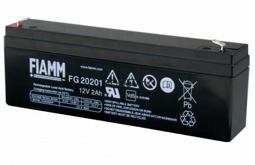 Аккумулятор FIAMM FG 20201 Номинальное напряжение - 12 В, Номинальная ёмкость - 2 Ач, Технология - AGM, Срок службы до 5 лет, Вес - 0,8 кг, Размеры - 178 мм (длина), 35 мм (ширина), 60 мм (высота).