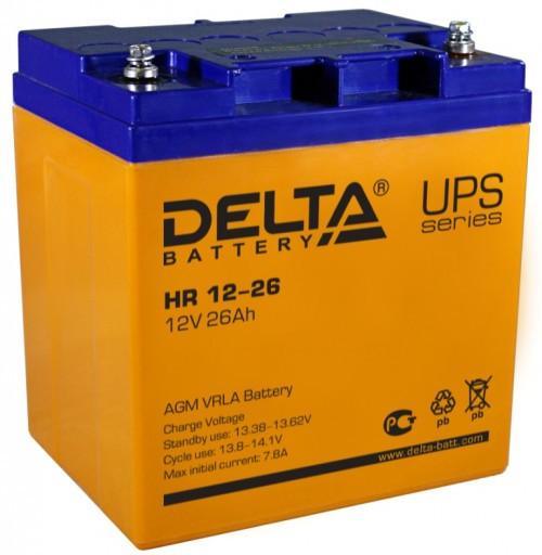 Аккумулятор DELTA HR 12-26 Номинальная ёмкость - 26 Ач, Номинальное напряжение - 12 В, Технология - AGM, Срок службы до 8 лет, Вес - 9.3 кг, Размеры - 165 мм (длина), 125 мм (ширина), 175 мм (высота).