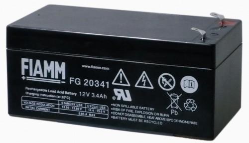 Аккумулятор FIAMM FG 20341 Номинальное напряжение - 12 В, Номинальная ёмкость - 3,4 Ач, Технология - AGM, Срок службы до 5 лет, Вес - 1,24 кг, Размеры - 134 мм (длина), 67 мм (ширина), 60 мм (высота).