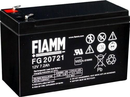 Аккумулятор FIAMM FG 20721 Номинальное напряжение - 12 В, Номинальная ёмкость - 7.2 Ач, Технология - AGM, Срок службы до 5 лет, Вес - 2,43 кг, Размеры - 151 мм (длина), 65 мм (ширина), 94 мм (высота).